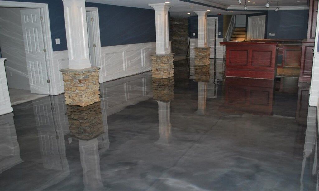 Gray metallic epoxy floor coating for client's home basement & entertainment bar area
