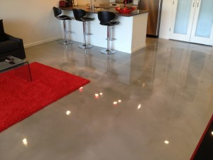 New home installation of popular metallic epoxy flooring