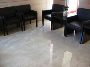 We installed gray metallic epoxy floors in office building reception area.