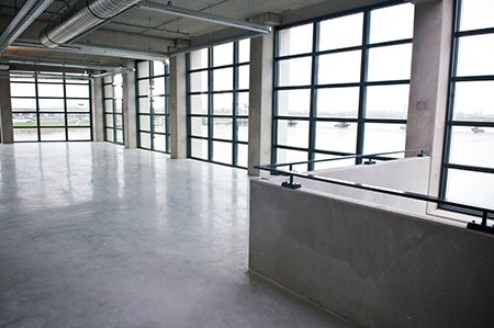 reflectivity of epoxy flooring catches light and brightens building